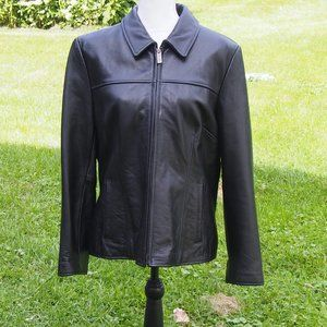 Wilsons fitted tailored black leather lined jacket